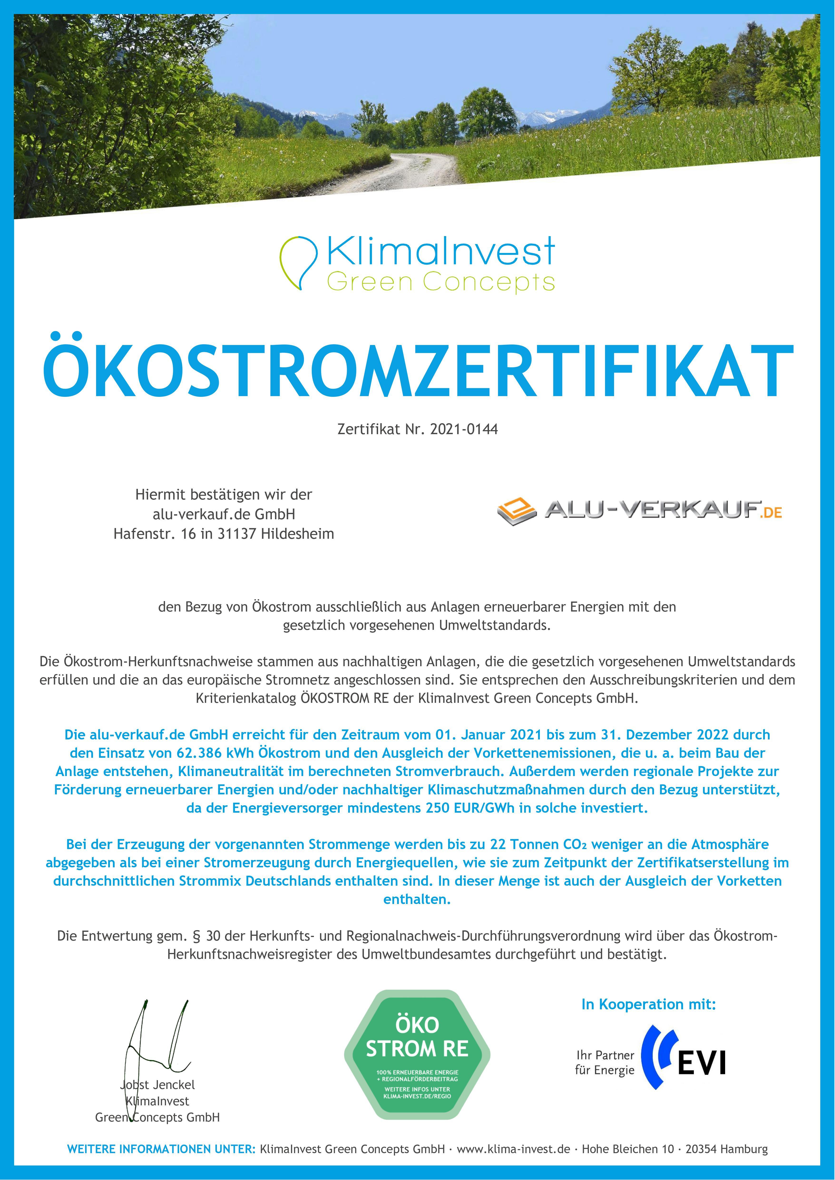Ökostromzertifikat alu-verkauf.de